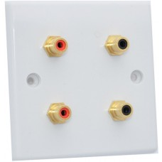 White Slimline 4 x RCA Phono Audio Surround Sound Wall Face Plate - Rear Solder tab Connections