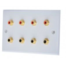 White Slimline 8 x RCA Phono Audio Surround Sound Wall Face Plate - Rear Solder tab Connections