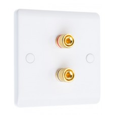 White Slimline 2 Binding Post Speaker Wall Plate - 2 Terminals - Rear Solder tab Connections