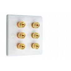 White Slimline 3.0 - 6 Binding Post Speaker Wall Plate - 6 Terminals - Rear Solder tab Connections