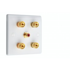 White Slimline 2.1  Speaker Wall Plate - 4 Terminals + RCA - Rear Solder tab Connections
