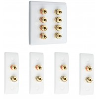 Complete Dolby 4.0 Surround Sound Speaker Wall Plate Kit - Slimline - No Soldering Required