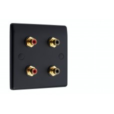 Matt Black Slimline 4 x RCA Phono Audio Surround Sound Wall Face Plate - Rear Solder tab Connections