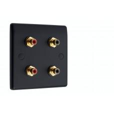 Matt Black Slimline 4 x RCA Phono Audio Surround Sound Wall Face Plate - Rear Solder tab Connections