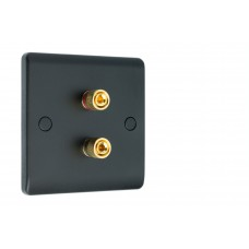 Matt Black Slimline 2 Binding Post Speaker Wall Plate - 2 Terminals - Rear Solder tab Connections