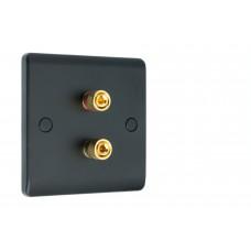 Matt Black Slimline 2 Binding Post Speaker Wall Plate - 2 Terminals - Rear Solder tab Connections