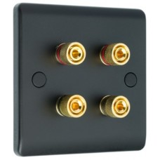 Matt Black Slimline 4 Binding Post Speaker Wall Plate - 4 Terminals - Rear Solder tab Connections