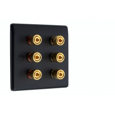 Matt Black Slimline 3.0 - 6 Binding Post Speaker Wall Plate - 6 Terminals - Rear Solder tab Connections