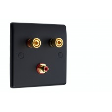 Matt Black Slimline 1.1 Speaker Wall Plate - 2 Terminals + RCA - Rear Solder tab Connections