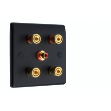 Matt Black Slimline 2.1 Speaker Wall Plate - 4 Terminals + RCA - Rear Solder tab Connections