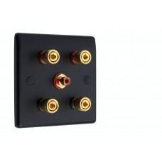 Matt Black Slimline 2.1 Speaker Wall Plate - 4 Terminals + RCA - Rear Solder tab Connections