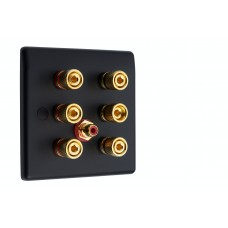 Matt Black Slimline 3.1 Speaker Wall Plate - 6 Terminals + RCA - Rear Solder tab Connections
