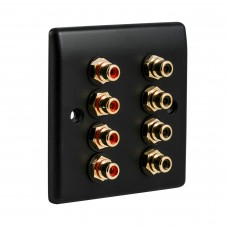 Matt Black Slimline 8 x RCA Phono Audio Surround Sound Wall Face Plate - Rear Solder tab Connections
