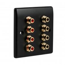 Slim Line Matt Black - 8 x RCA Phono Audio Wall Plate - 8 Terminal - No Soldering Required