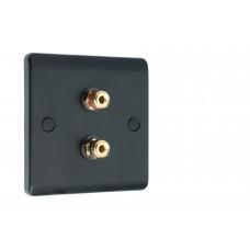 SlimLine Matt Black 2  Binding Post Speaker Wall Plate - 2 Terminals - No Soldering Required