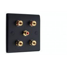Matt Black 2.1 Slim Line One Gang Speaker Wall Plate 4 Terminals + RCA Phono Socket - No Soldering Required