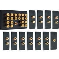 Matt Black 10.1 Surround Sound Audio AV Speaker Wall Face Plate Kit - NON SOLDER