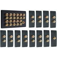 Matt Black 11.1 Surround Sound Audio AV Speaker Wall Face Plate Kit - NON SOLDER