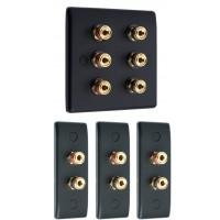 Matt Black 3.0 Surround Sound Audio AV Speaker Wall Face Plate Kit - NON SOLDER