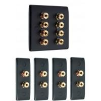 Matt Black 4.0 Surround Sound Audio AV Speaker Wall Face Plate Kit - NON SOLDER