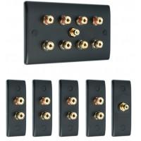 Matt Black 4.1 Surround Sound Audio AV Speaker Wall Face Plate Kit - NON SOLDER
