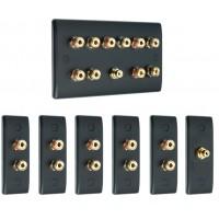 Matt Black 5.1 Surround Sound Audio AV Speaker Wall Face Plate Kit - NON SOLDER