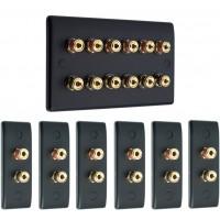 Matt Black 6.0 Surround Sound Audio AV Speaker Wall Face Plate Kit - NON SOLDER