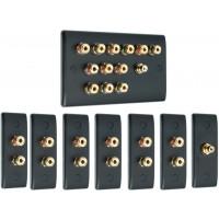 Matt Black 6.1 Surround Sound Audio AV Speaker Wall Face Plate Kit - NON SOLDER
