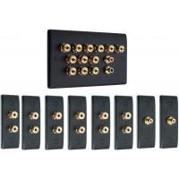 Matt Black 6.2 Surround Sound Audio AV Speaker Wall Face Plate Kit - NON SOLDER