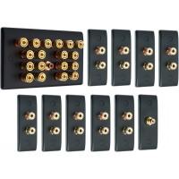 Matt Black 9.1 Surround Sound Audio AV Speaker Wall Face Plate Kit - NON SOLDER