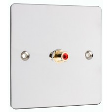 Chrome Polished Flat Plate 1 x RCA Phono Audio Surround Sound Wall Face Plate - Rear Solder tab Connections