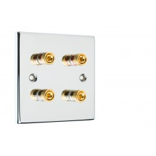 Chrome Polished Flat plate 4 Binding Post Speaker Wall Plate - 4 Terminals - Rear Solder tab Connections