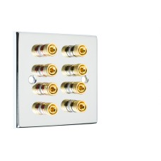 Chrome Polished Flat plate 4.0 - 8 Binding Post Speaker Wall Plate - 8 Terminals - Rear Solder tab Connections