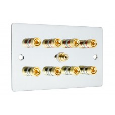 Chrome Polished Flat Plate 4.1  Speaker Wall Plate - 8 Terminals + RCA - Rear Solder tab Connections