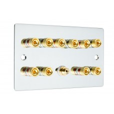 Chrome Polished Flat Plate 5.1  Speaker Wall Plate - 10 Terminals + RCA - Rear Solder tab Connections