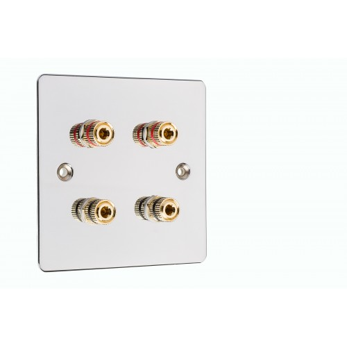 Chrome Polished Flat Plate 4 Binding Post Speaker Wall Terminals No Soldering Required