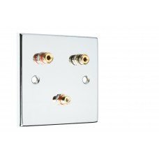 Chrome Polished Flat Plate 1.1 One Gang Speaker Wall Plate 2 Terminals + RCA Phono Socket - No Soldering Required