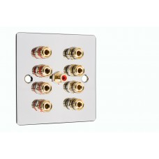 Chrome Polished Flat Plate 4.1 1 Gang Speaker Wall Plate 8 Terminals + RCA Phono Socket - No Soldering Required