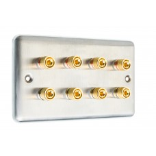 Stainless Steel Brushed Raised plate 4.0 - 8 Binding Post Speaker Wall Plate - 8 Terminals - Rear Solder tab Connections