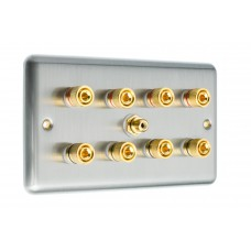 Stainless Steel Brushed Raised Plate 4.1  Speaker Wall Plate - 8 Terminals + RCA - Rear Solder tab Connections