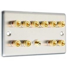 Stainless Steel Brushed Raised Plate 5.1  Speaker Wall Plate - 10 Terminals + RCA - Rear Solder tab Connections