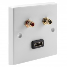 White RCA Phono Wall Plate 2 Terminal + 1 HDMI - No Soldering Required