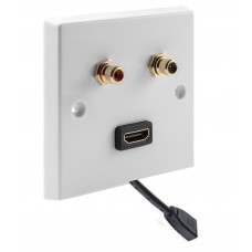 White RCA Phono Wall Plate 2 Terminal + 1 HDMI FLEXIBLE FLYLEAD - No Soldering Required