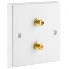 White Satellite F-type Wall Plate 2 x Gold plated posts - No Soldering Required