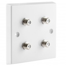 White Satellite F-type Wall Plate 4 x Nickel plated posts - No Soldering Required