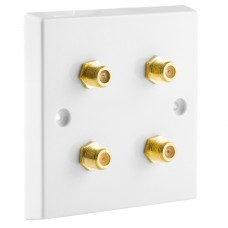 White Satellite F-type Wall Plate 4 x Gold plated posts - No Soldering Required