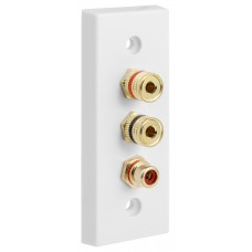 Architrave White square edge 1.1 Speaker Wall Plate 2 Terminals + RCA Phono Socket - No Soldering Required
