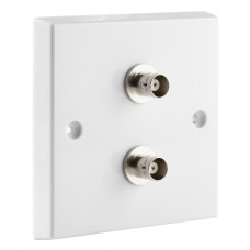 White BNC Wall Plate 2 Nickel plated on brass Terminals - Solder tabs rear