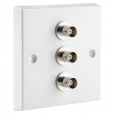 White BNC Wall Plate 3 Nickel plated on brass Terminals - Solder tabs rear