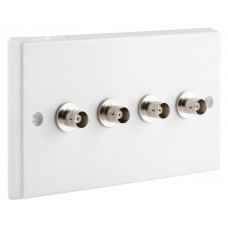 White BNC Wall Plate 4 Nickel plated on brass Terminals - Solder tabs rear